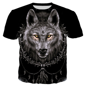 Image 4 - Ferocious Animal Wolf and Indians T Shirt Men Fashion Clothing 3D Print Men/Women Harajuku Style Streetwear Tops T82