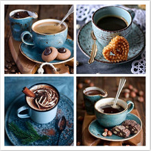 DIY Diamond Painting Scenery Coffee Embroidery Picture 5D Full drilling Cross stitch