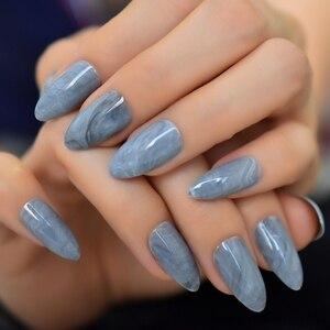 Audrey hepburn estilo unhas falsas preto quadrado médio acrílico artificial falso prego prata glitter decorado arte do prego dicas 24