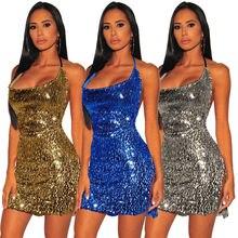 Женское мини платье с блестками сексуальные вечерние ночные
