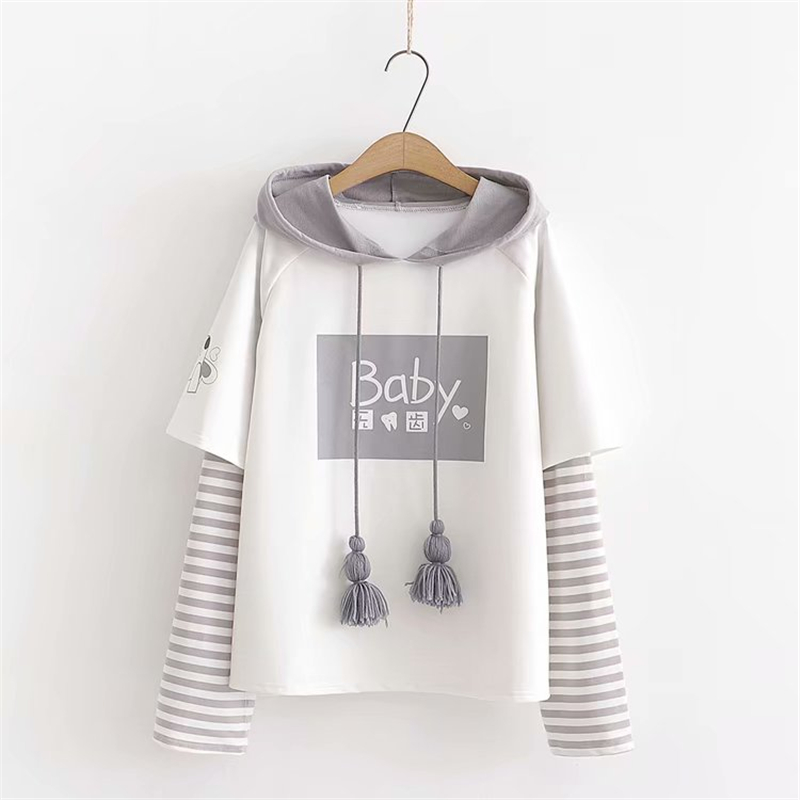 Cute Cotton Long Sleeved Hoodie with Cute Ropes 6