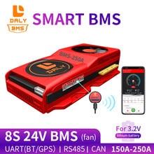 Bms inteligente placa de circuito lifepo4 bateria 8s lifepo4 24v 150a 200a 250a bluetooth 485 ao dispositivo usb pode ntc uart 400ah bateria bms