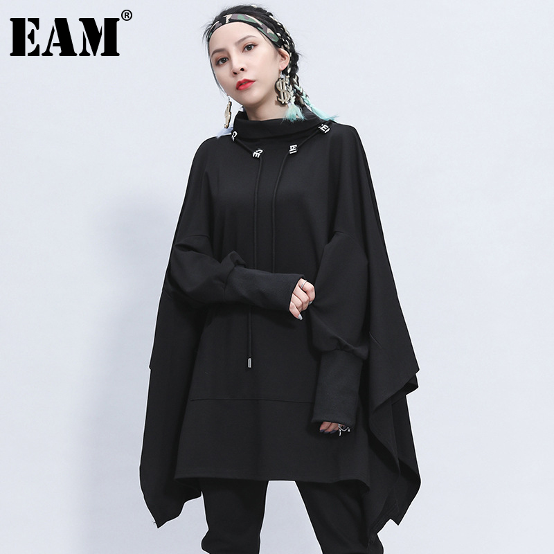 [EAM] Loose Fit Black Irregular Split Sweatshirt New Turtleneck Long Sleeve Women Big Size Fashion Tide Spring Autumn 2020 1Z312 1