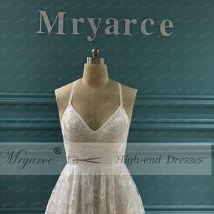 Image 2 - Mryarce Unique Bride Rosa Lace Wedding Dress Boho Chic Cross Back Side Slit Bridal Gowns For Outdoor Wedding
