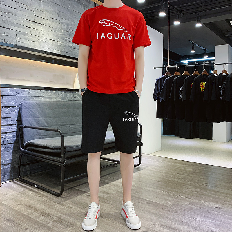 Summer New Style Korean-style T-shirt Short Sleeve Male Two-Piece MEN'S Sportswear Men's Casual Sports Trend Set Men's