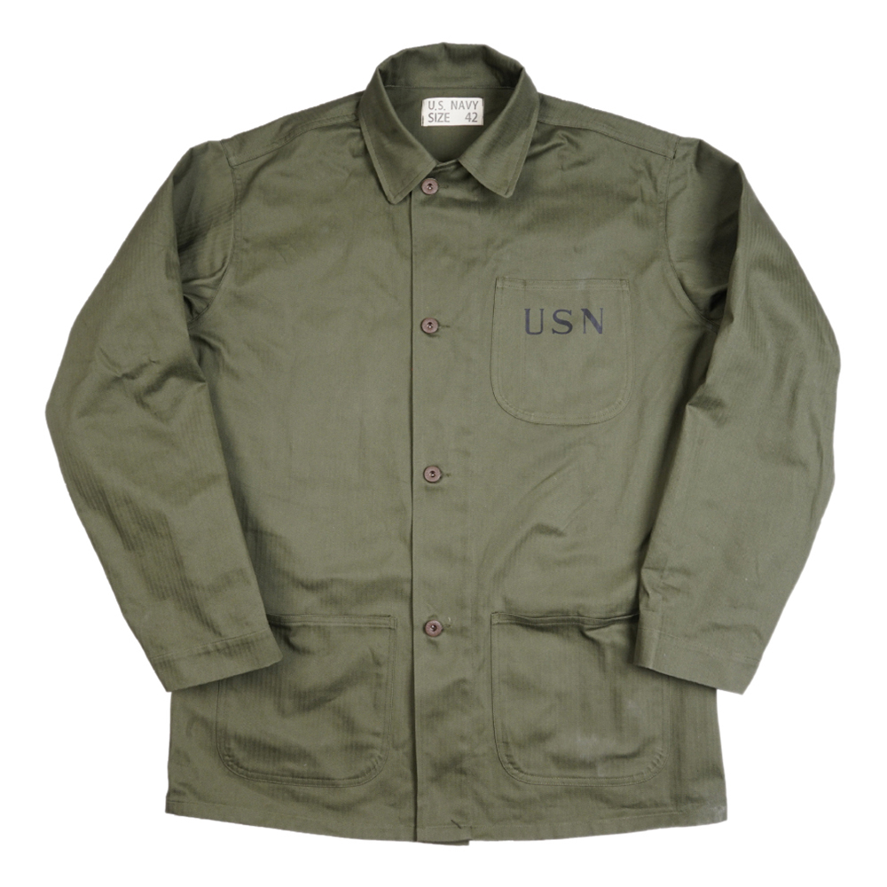 WWII WW2 US Navy USN jacket Trench Coat Retro Cotton Satin Uniforms Army Green