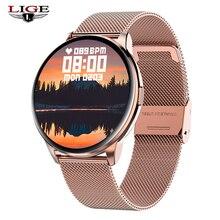 Lige toque completo relógio inteligente mulher ip68 à prova dip68 água pulseira ecg monitor de freqüência cardíaca monitoramento sono esportes smartwatch para senhoras
