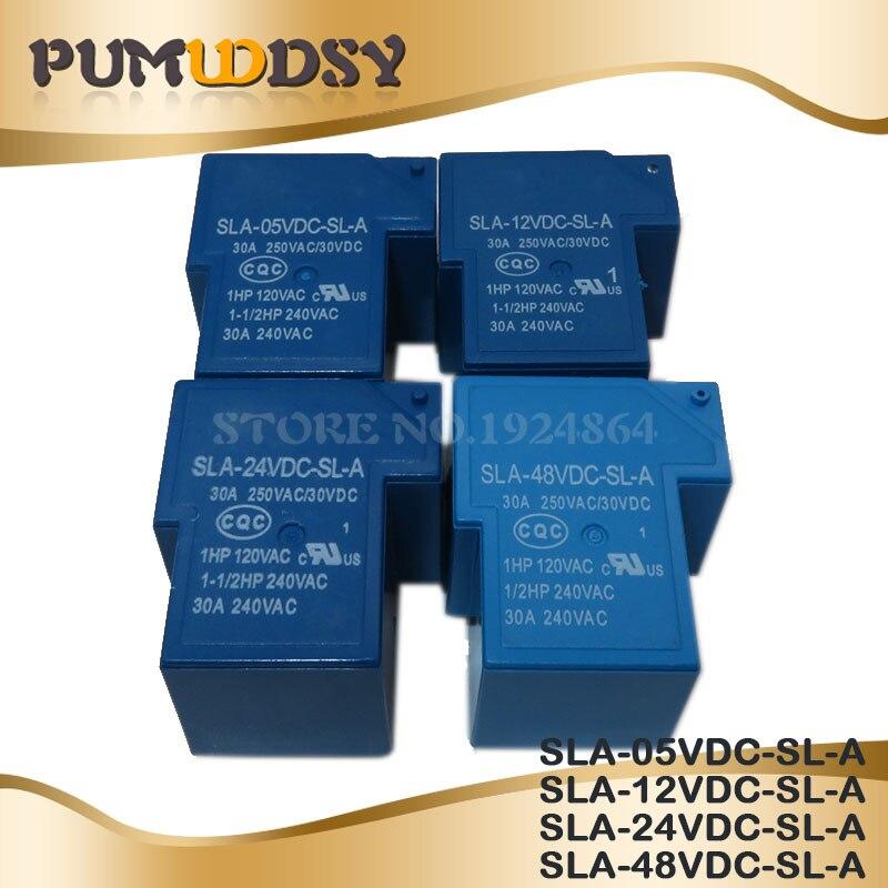 2PCS/lot Power S SLA-05VDC-SL-A SLA-12VDC-SL-A SLA-24VDC-SL-A SLA-48VDC-SL-A 5V 12V 24V 48V 30A 5PIN T90