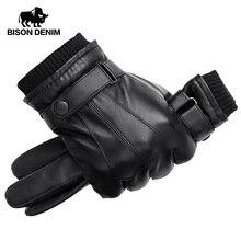 BISON DENIM Men Genuine Sheepskin Leather Gloves Autumn Winter Warm Touch Screen Full Finger Black Gloves High Quality S019