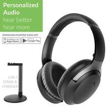 Avantree aria me personalizado cancelamento de ruído sem fio bluetooth fones de ouvido com suporte de carregamento, aptx hd, baixa latência