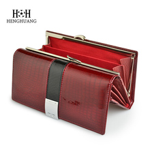 HH Womens Wallets Genuine Leather Alligator Patent Puses Female Design Clutch Lo
