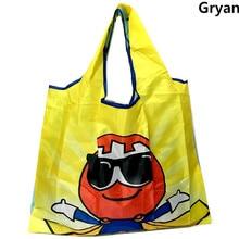 New Tote foldable Colors ECO Reusable Polyester Portable Shoulder Handbag Cartoon green Folding pouch shopping bag