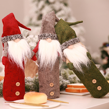 1Set Christmas Decorations For Home Cute Faceless Doll Red Wine Bottle Set Dinner Table Decor Ornaments New Year