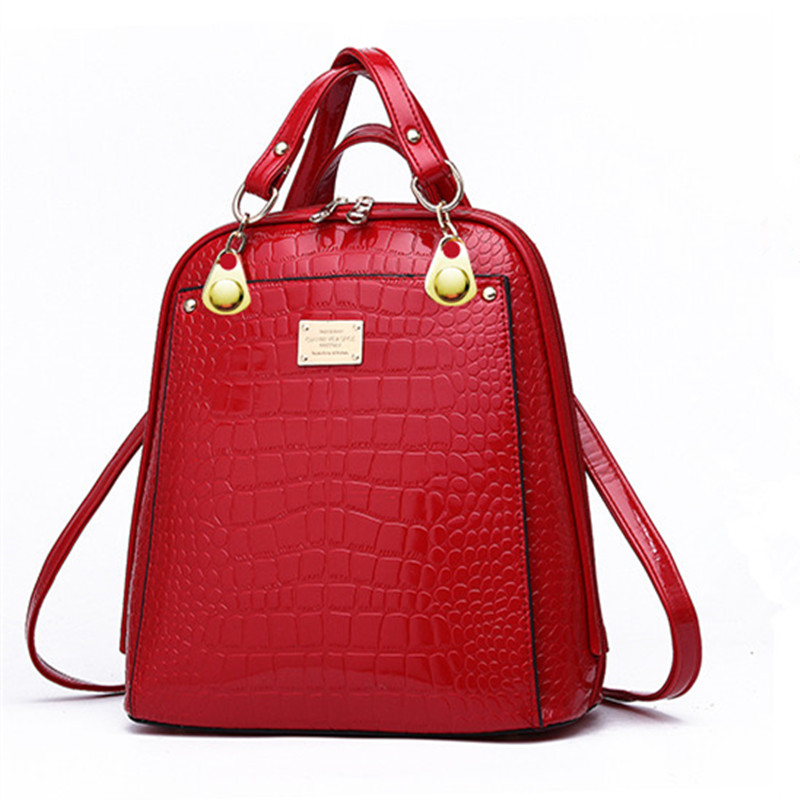 ZKW Patent Leather Girl   Fresh Preppy Style Backpack Korean Fashion  Back All-Match Leopard Female  Fresh Shoulder Bag
