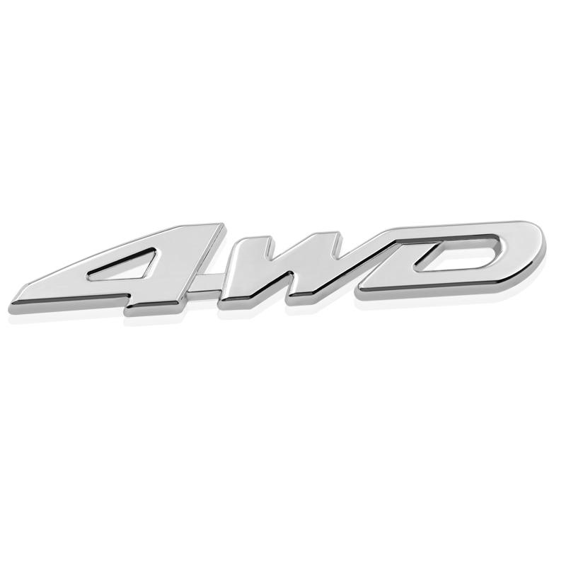1pcs 2020 New 3D Metal Hot Car Metal Chrome 4WD Displacement Emblem Badge All Wheel Drive Auto Sticker Car Styling Car Stickers