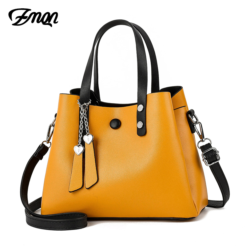ZMQN Women Leather Handbag 2019 Casual Crossbody Bag Yellow Bags Ladies Designer Handbags High Quality Shoulder Bags Female A818