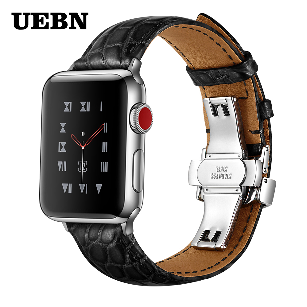 UEBN Butterfly buckle Genuine Leather Band for Apple watch Series 5 Watch Strap for iWatch 5 4 40mm 44mm 42mm 38mm bands