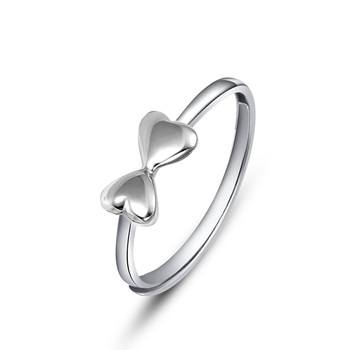 Classic Elegant Bowknot Shape Glossy Real Platinum PT950 Rings Bands for Women Girlfriend Lady Fancy Upscale Anniversary Jewelry