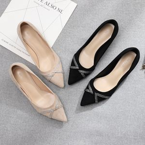Image 2 - 2020 Shoes Woman Slip Ons Small Cat Thin Med Heels Pumps Solid Flock Bowtie Butterfly knot Office Lady Elegant Sexy Wedding Pump