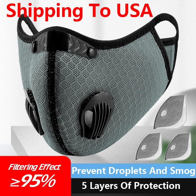 Shipping To USA Cycling Dust Filter Sport Face Running Training  Reusable Anti-Pollution Activated Carbon Filter Breathing