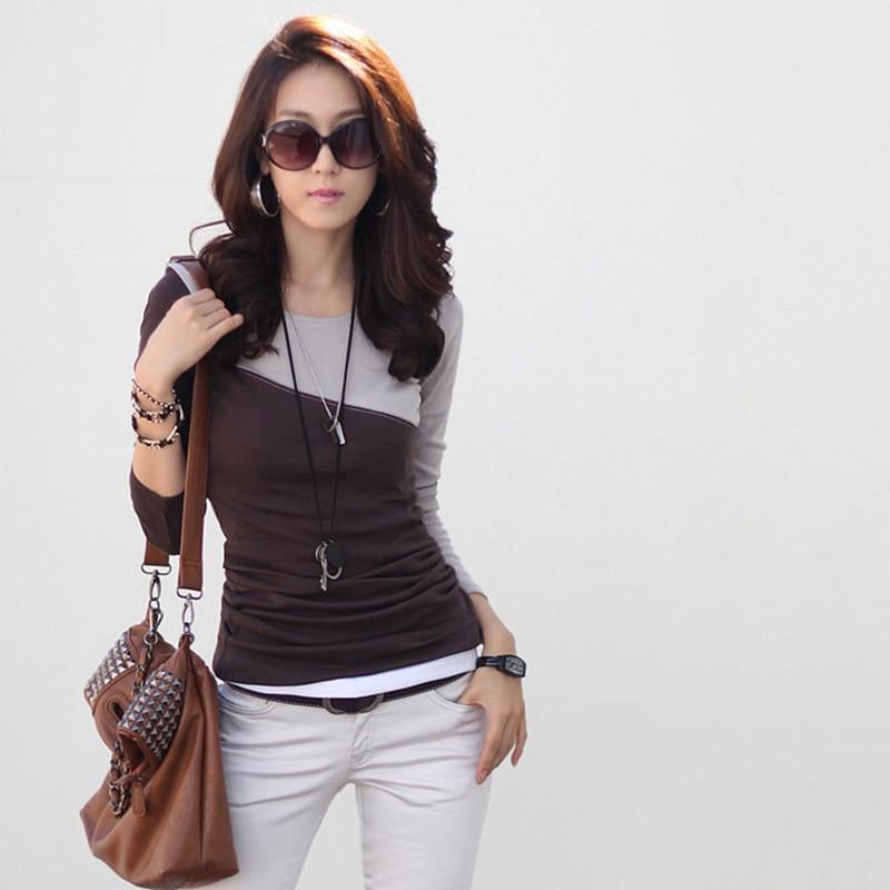 Women Long Sleeve Cotton Tshirt Korean Clothing Womens Tops 2019 Big Size T-Shirt Patchwork O Neck Slim Tee Shirt Female Tops