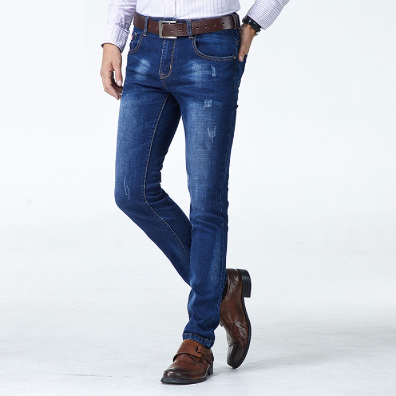 2019 New Style Cowboy Trousers Business Casual Version Medium Waist Slim Fit Cowboy Trousers