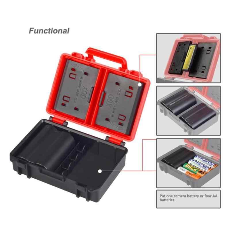 كاميرا بطارية صناديق SD CF XQD الذاكرة حامل بطاقة حالة لسوني NP-FW50 NP-W126 NP-BX1 لنيكون EN-EL14/5 صندوق تخزين