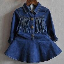 Джинсовое платье для маленьких девочек куртка малышей Детский