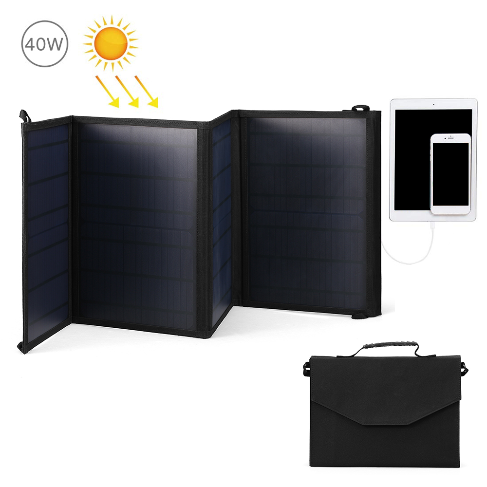 40W Portable Solar Charger Water Repellent Sun Power Charger 5V/2A USB Port and DC18V Port Portable Solar Panel