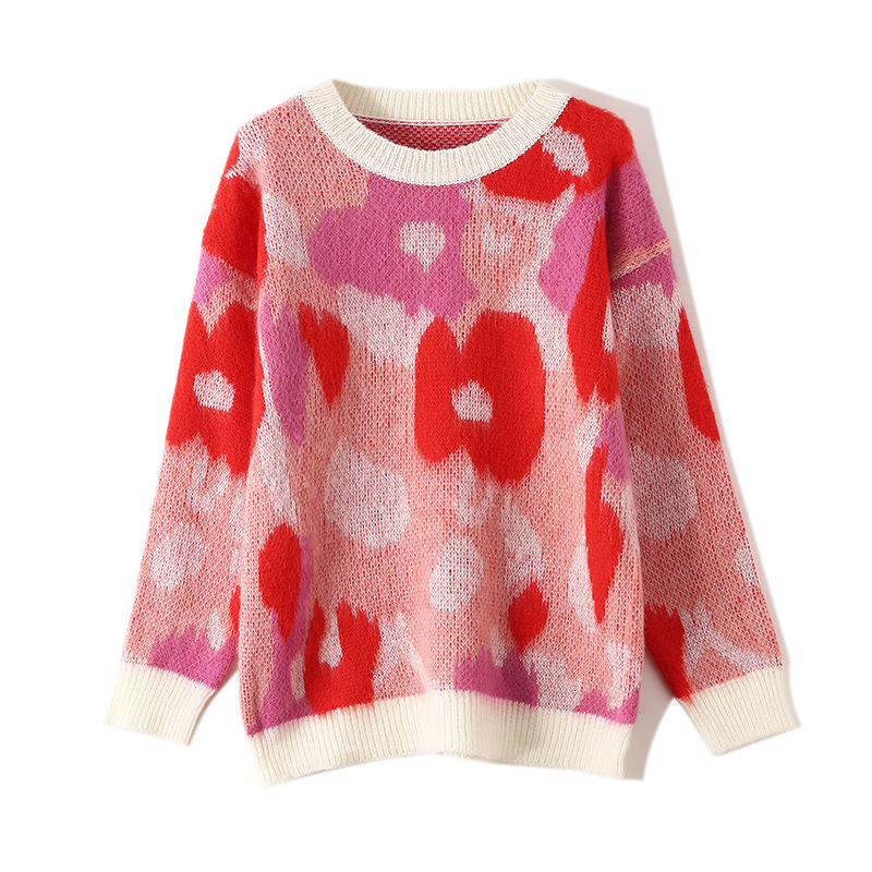 Gas Sweater Woman Loose Pullover Lazy Wind Mohair Flower Pattern Soft Comfortable Knitting Sweater Tide thumbnail