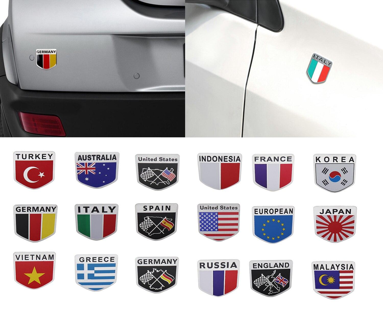Алюминиевый Национальный флаг sheild для салона автомобиля наружное украшение крыла багажника Крышка Эмблемы значок стикер