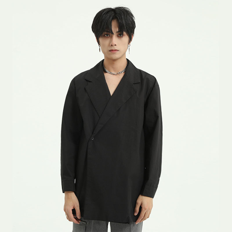 Men Japan Korea Style A Button Casual Long Sleeve Shirts Male Harajuku Streetwear Fashion Loose Shirt