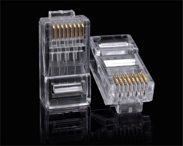 RJ45 Category 6 Gigabit network crystal head Category 6 8-core pure copper gold-plated network cable connector cat6 for Ethernet