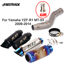 Motorcycle Exhaust System 51mm Muffler Escape Mid Link Connect Pipe For Yamaha R1 YZF-R1 MT-03 2009 2010 2011 2012 2013 2014