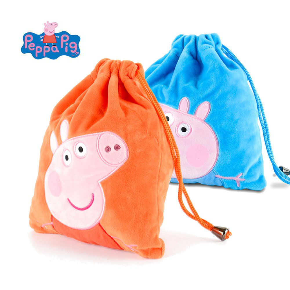 Genuine Peppa Pig Plush Bag Bundle Pocket 18*22cm Cute George Peppa Pulling Rope Pocket Bag Storage Pouch Bag