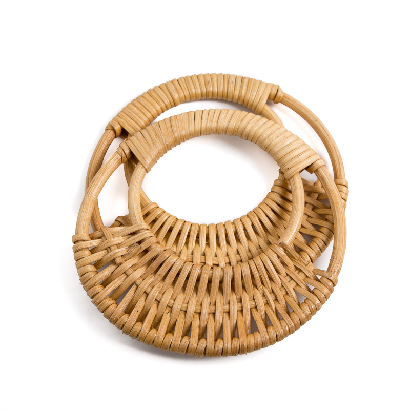 One Pair Rattan Weave Bag Handle Diy Handbag Accessories Handmade Vintage Bag Handle Parts Bamboo Handles Wholesale