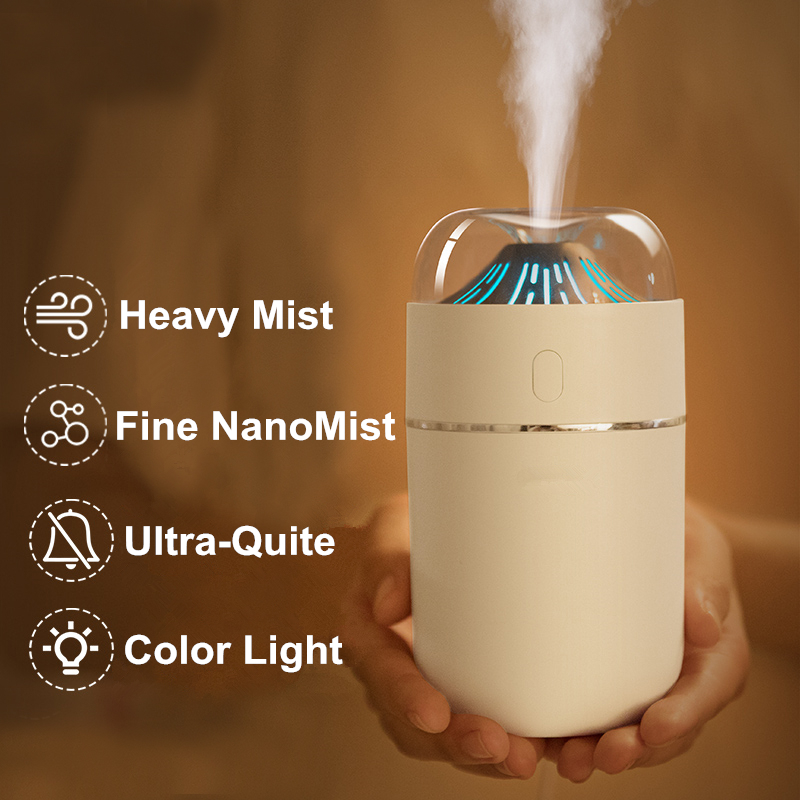 320ml Small Volcano Air Humidifier Ultrasonic Cool Mist Aroma Essential Oil Diffuser Color LED Lamp For Office Bedroom Car