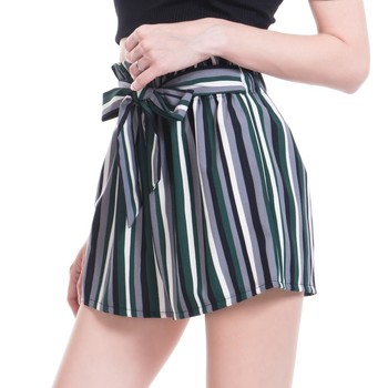 Summer High Waist Self Belted Striped Shorts 2020 New Women Elastic Boho Culottes
