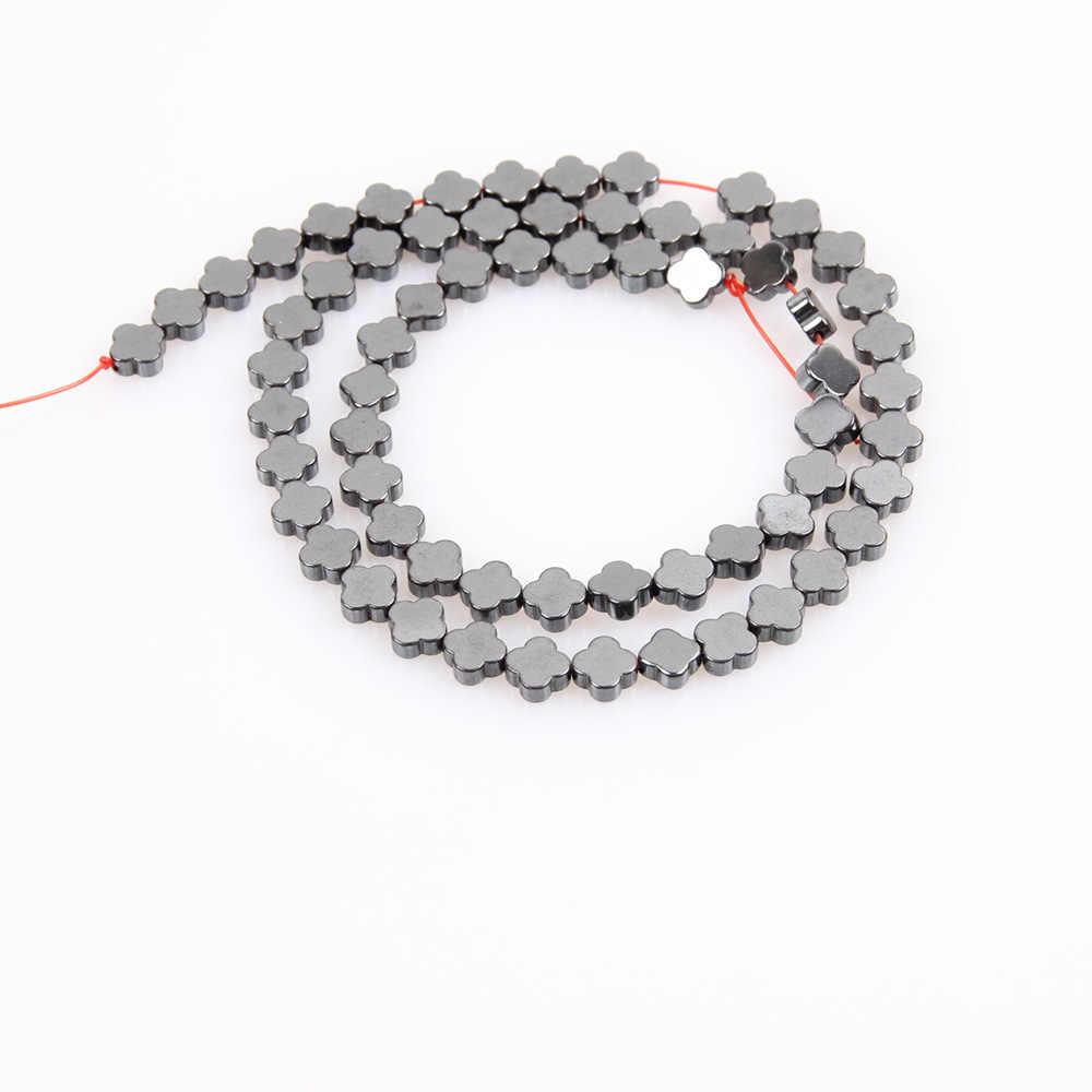 Cuentas sueltas de piedra Natural de hematites, cuentas negras con forma de trébol de cuatro hojas usadas en la fabricación de joyas, accesorios para collares de pulseras DIY