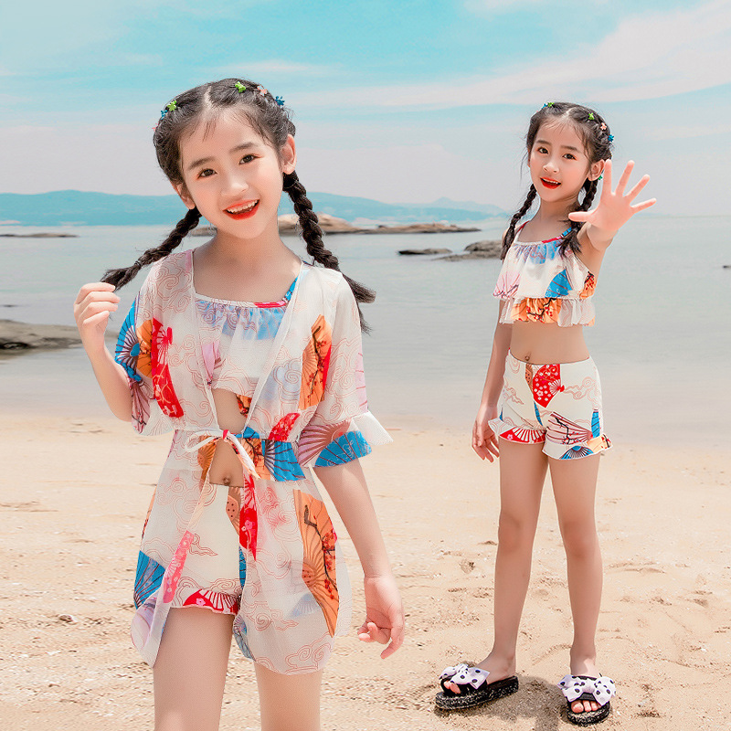 New Style GIRL'S Swimsuit Split Type Three-piece Set Fairy Fan Children Conservative Cute Korean-style Princess Beach Hot Spring