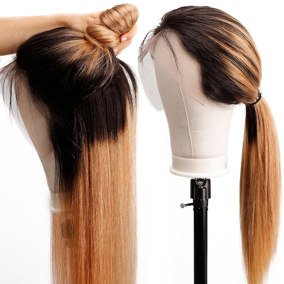 Soul Lady Ombre met en évidence les perruques de cheveux humains 1b 27 deux tons couleur Remy cheveux brésiliens droite Ombre cheveux humains avant de lacet perruques
