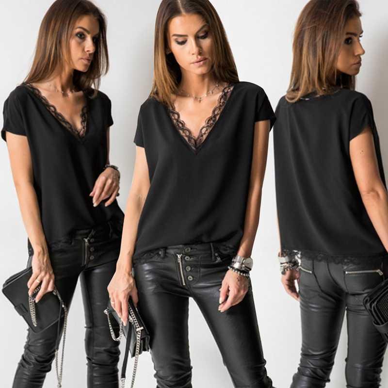 Черная Сексуальная кружевная футболка, летние футболки с коротким рукавом и v-образным вырезом, Модные топы для женщин, элегантная одежда для девушек, повседневные рубашки, уличная одежда