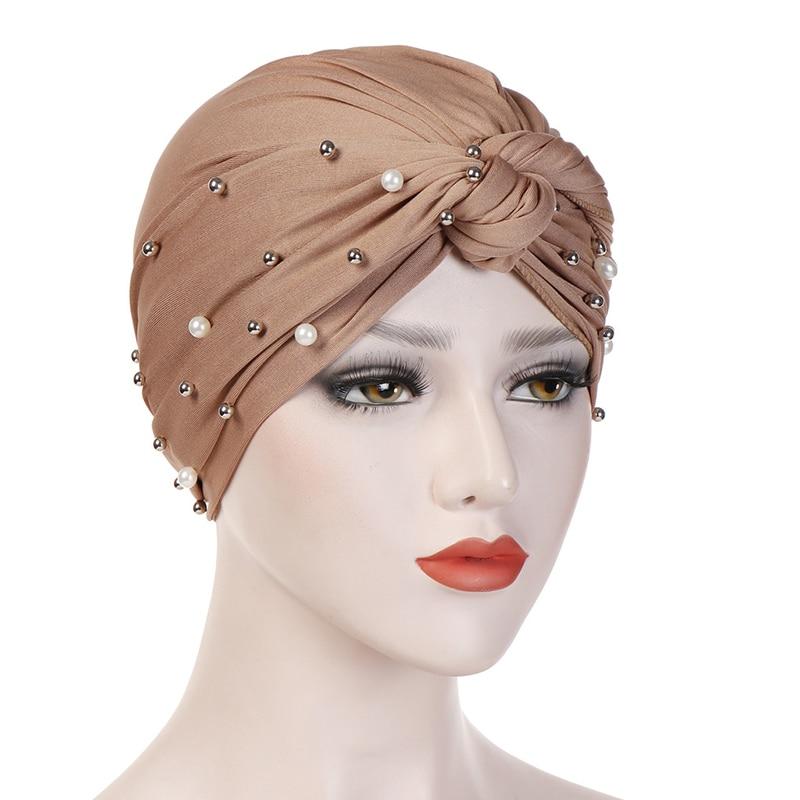 Fashion Muslim Hijab Beaded Head Wrap Cover Scarf Indian Hat Women Knot Chemo Cap Elastic Turban Hat Casual Bonnet Hot Sale