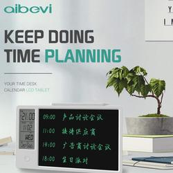 Aibevi 10 Inch Clock Calendar LCD Writing Tablet Electronic Digital Graphic Drawing Weather Pad Temperature Humidity Display