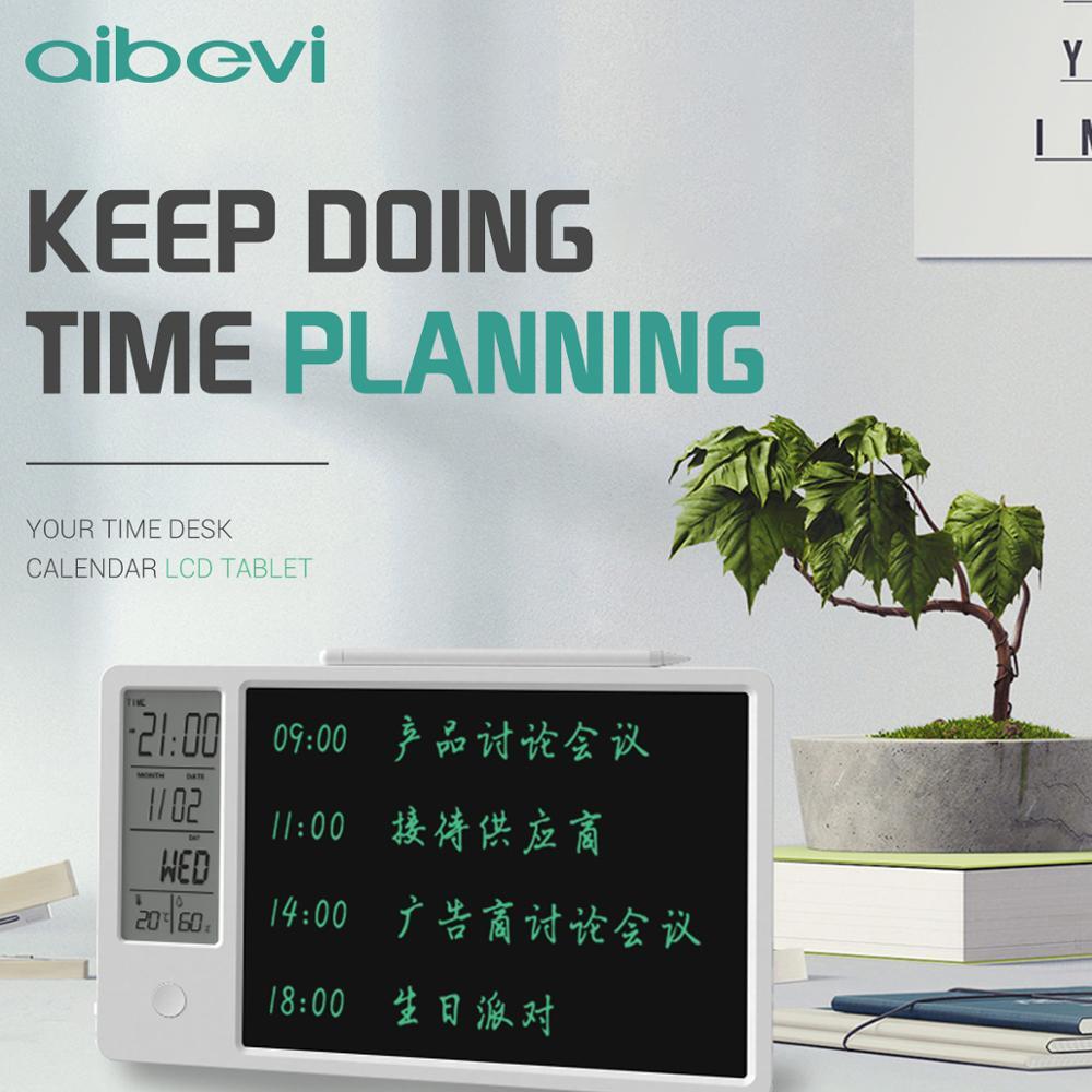 Aibevi 10 Polegada relógio calendário lcd escrita tablet eletrônico digital gráfico de desenho almofada do tempo temperatura umidade display