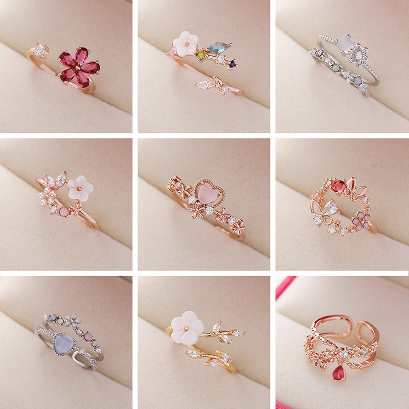 2020 Korean Delicate Zircon Crystal Leaf Shell Flower Heart Rings For Women Fashion Opening Finger Bague Ring Sweet Party Gifts