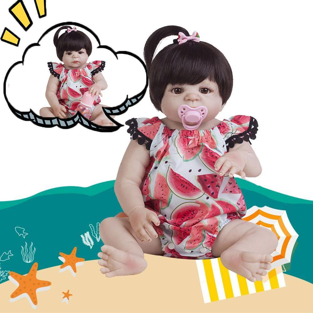 55cm Full Body Silicone Doll Toy White Skin Newborn Girl <font><b>Princess</b></font> <font><b>Toddler</b></font> Doll Child Bathe Toy Realistic Child Doll image