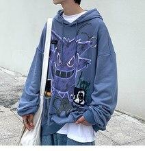 Oversized 2021 verão novo diabo harajuku hoodie moda feminina casual moletom solto jaqueta de lã streetwear anime roupas