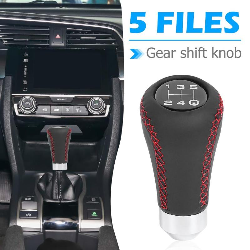 ICBEAMER Racing Style Manual Transmission Stick Shift Knob Silver Aluminum 5 6 Speed with Red LED Light CR2032 Battery