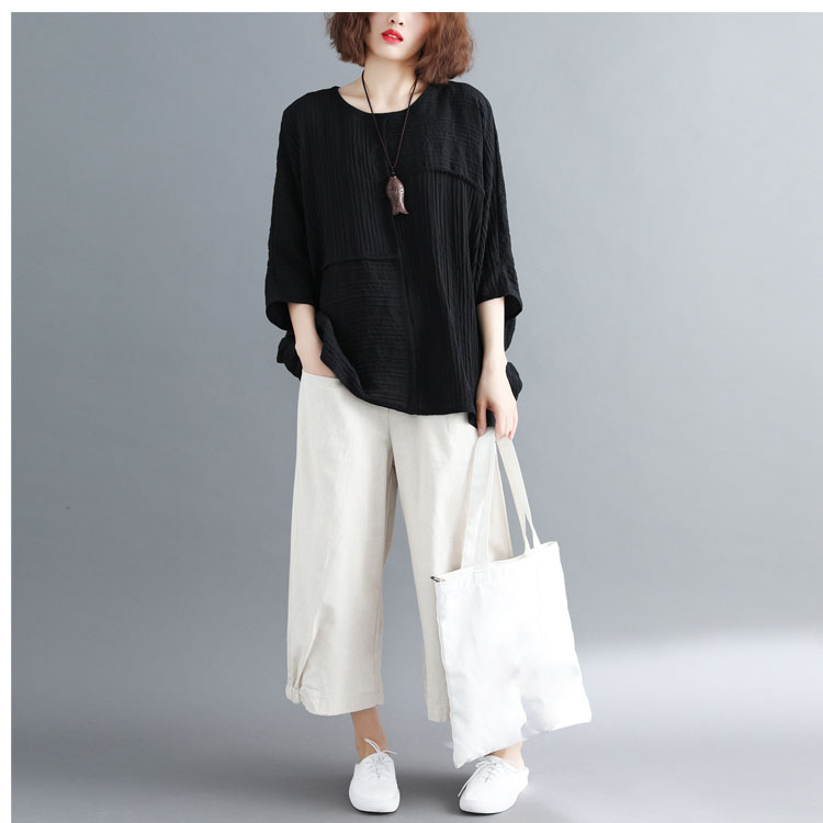 Fashion 2019 Summer Casual Pocket Elastic Waist Wide Leg Trousers Casual Women Ankle Length Cotton Linen Loose   Pants
